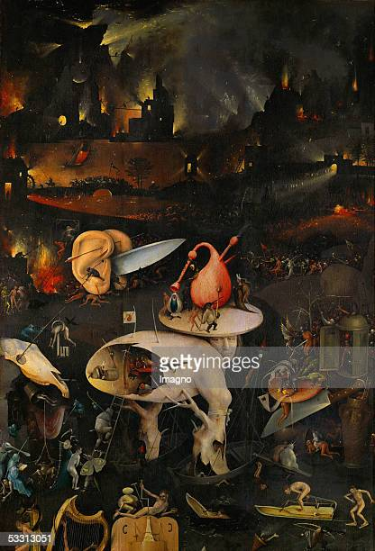 The Garden of Delights right panel top half A burning city in the background fleeing people drown in a lake of fire bagpipes and knives as sexual...