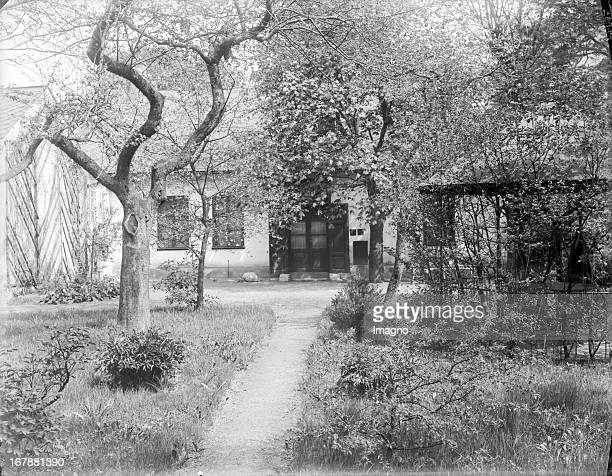 The garden of the studio of Gustav Klimt 13th district Feldmuehlgasse 11 About 1910 Photograph by Moriz Naehr Vorgarten und Außenansicht des Ateliers...