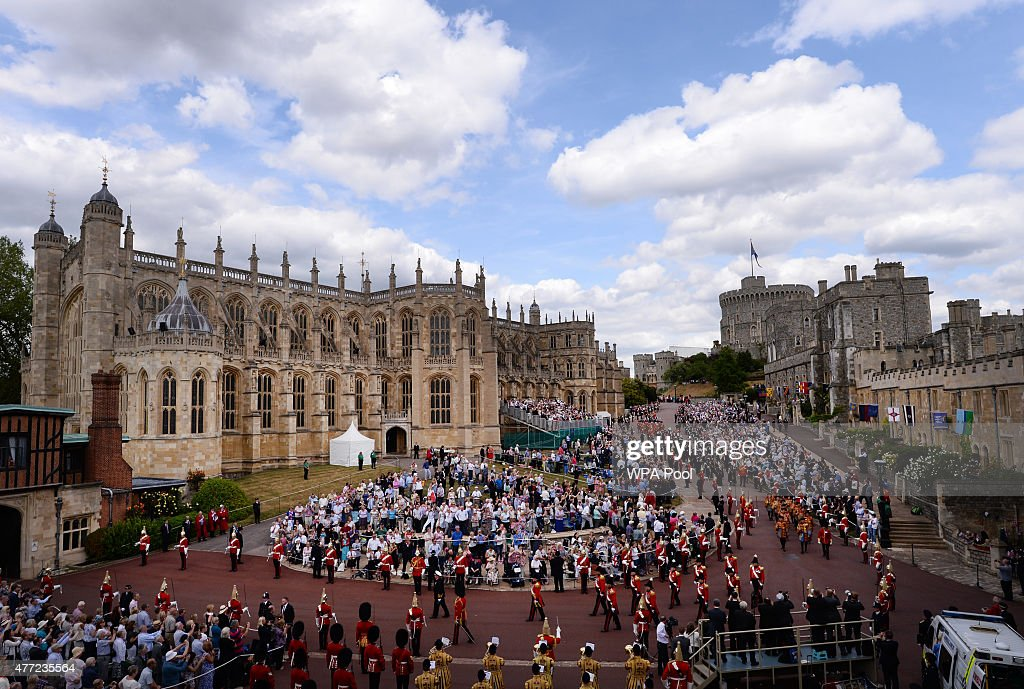 The Garter Procession makes its way to St George's Chapel for the annual Order of the Garter Service at Windsor Castle on June 15, 2015 in Windsor, England. The Order of the Garter is the most senior and the oldest British Order of Chivalry and was founded by Edward III in 1348.