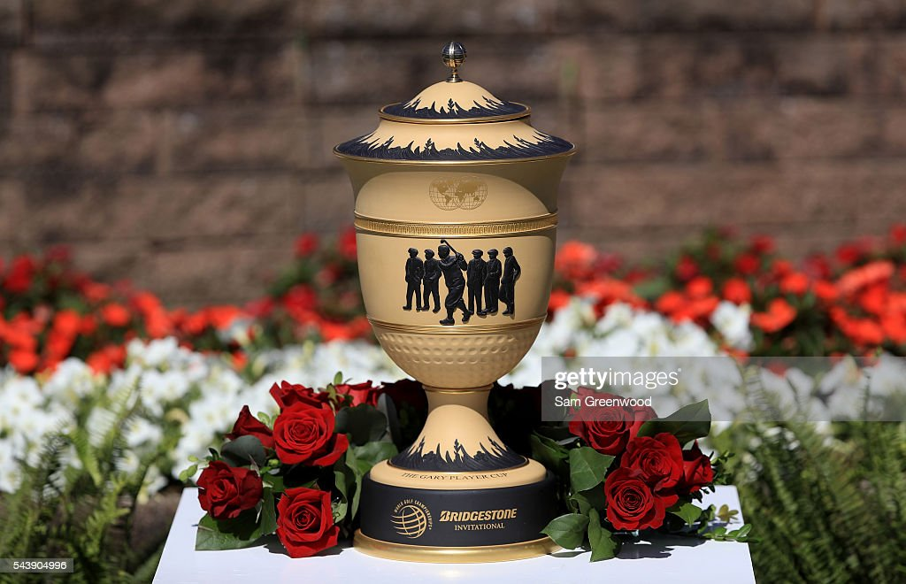 The Gary Player Cup sits on display during the first round of the World Golf Championships - Bridgestone Invitational at Firestone Country Club South Course on June 30, 2016 in Akron, Ohio.