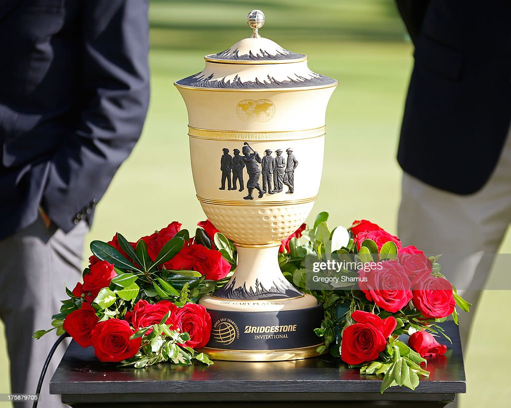 The Gary Player Cup trophy is on display on the 18th green during the Final Round of the World Golf Championships-Bridgestone Invitational at Firestone Country Club South Course on August 4, 2013 in Akron, Ohio.