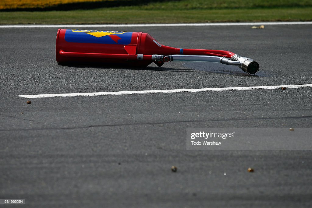 The gas can for Brennan Poole, driver of the #48 DC Solar Chevrolet, sits on pit road during the NASCAR XFINITY Series Hisense 300 at Charlotte Motor Speedway on May 28, 2016 in Charlotte, North Carolina.