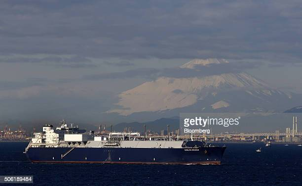 The Gaslog Skagen liquefied natural gas tanker sails past Mount Fuji at Tokyo Bay is seen in Kisarazu Chiba Prefecture Japan on Thursday Jan 21 2016...