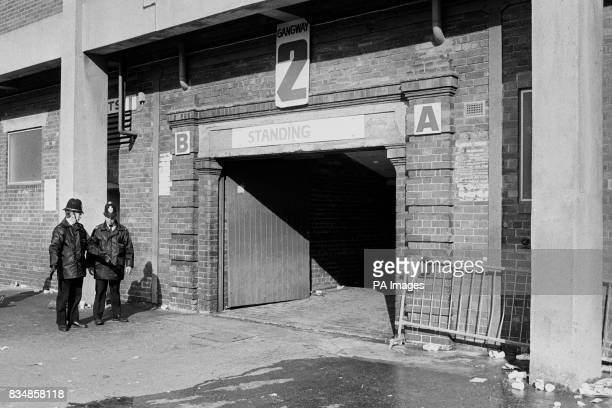 The gate at Hillsborough where most the fans entered which allegedly lead to the Crush More than 90 people died and 170 injured after overcrowding...