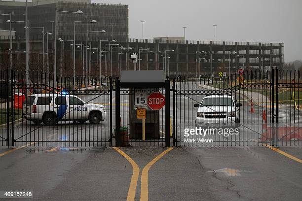 The gate that leads to Census Bureau remains closed where a guard was shot and killed yesterday April 10 2015 in Suitland Maryland The shooter then...