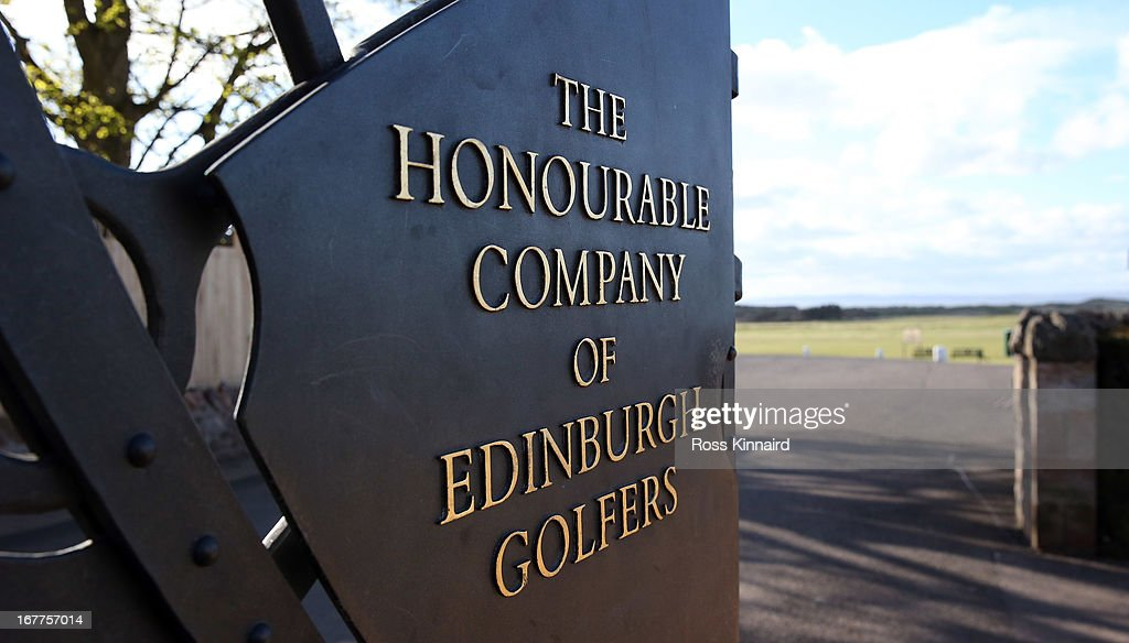 The gate to Muirfield with the name 'The Honourable Company of Edinburg Golfers' on it pictured during The Open Championship media day at Muirfield on April 29, 2013 in Gullane, Scotland.