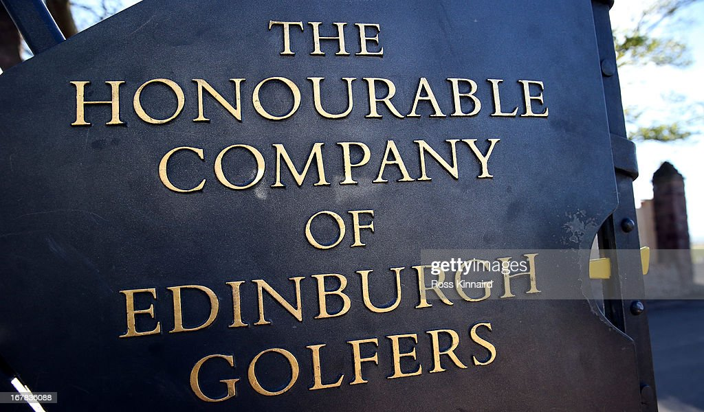 The gate to Muirfield, with the name 'The Honourable Company of Edinburg Golfers' on it pictured during The Open Championship media day at Muirfield on April 29, 2013 in Gullane, Scotland.