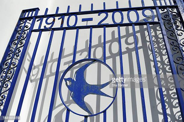 The gates from the old Cardiff City ground of Ninian Park which is now a housing estate before the Barclays Premier League match between Cardiff City...