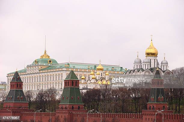 The gates of Kremlin and the Kremlin are pictured on October 31 2013 in Moscow Russia