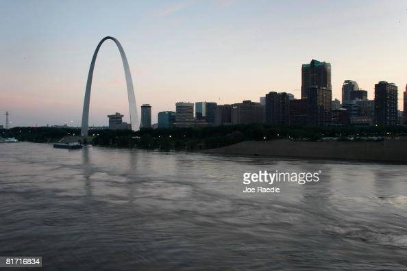 The Gateway Arch is seen as the flooding Mississippi River runs in front of it June 25 2008 in St Louis Missouri Forecasters say the Mississippi...