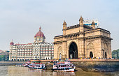 The Gateway of India and Taj Mahal Palace as seen from the Arabian Sea. Mumbai - Maharashtra, India