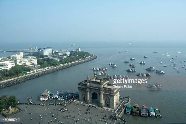 The Gateway of India in Mumbai a 26 metres high basalt arch overlooks the Arabian Sea