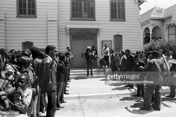 The gathering for the funeral of Black Panther George Jackson at St Augustine's Episcopal Church Oakland California 1971