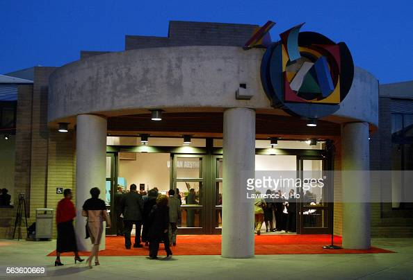 The gathering to celebrate the re–opening of the California African American Museum Pic shows the entrance to the museum