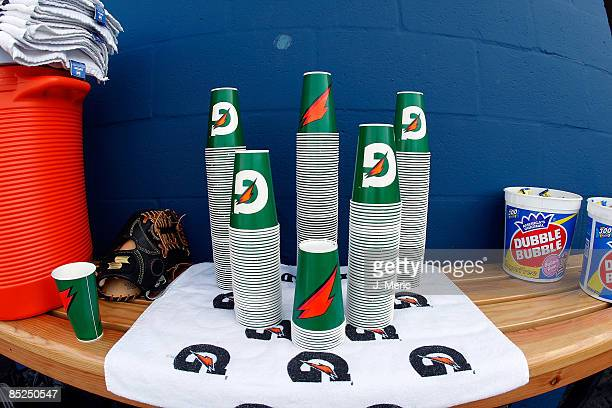 The Gatorade G cups are stacked neatly in the dugout of the Tampa Bay Rays just before the exhibition Spring Training Game against Team Puerto Rico...