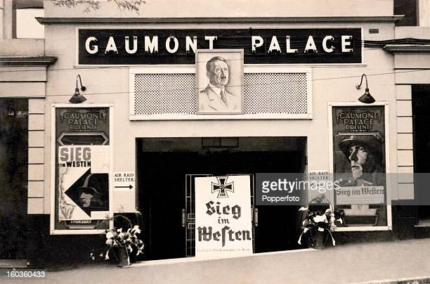 The Gaumont Palace cinema in St Peter Port Guernsey featuring the film 'Victory in the West' on Adolf Hitler's birthday during World War Two 25th...