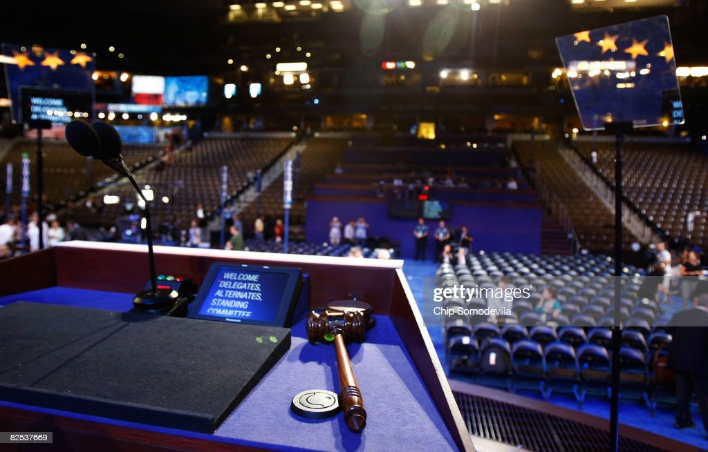 The gavel that will open the Democratic National Convention (DNC) rests on the podium at the Pepsi Center August 24, 2008 in Denver, Colorado. The DNC begins August 25 where U.S. Sen. Barack Obama (D-IL) will be officially nominated as the Democratic nominee for U.S. president.