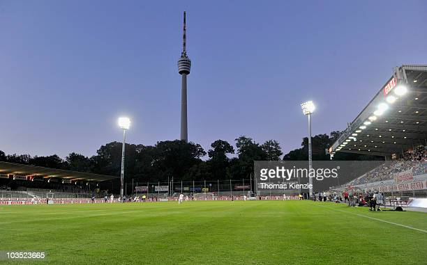 The Gazi stadium backdropped by Stuttgart's tvtower is seen during the Third League match between VfB Stuttgart II and TuS Koblenz on August 20 2010...