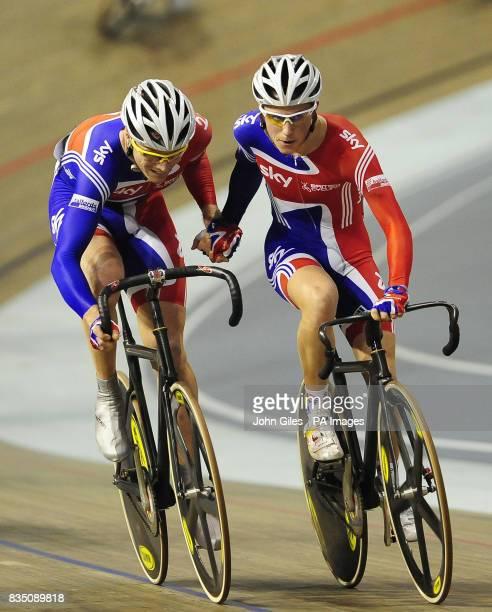 The GB Men's Madison Team Rob Hayles and Peter Kennaugh at the Ballerup Super Arena Copenhagen