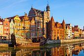 The riverside with the characteristic promenade of Gdansk, Poland.