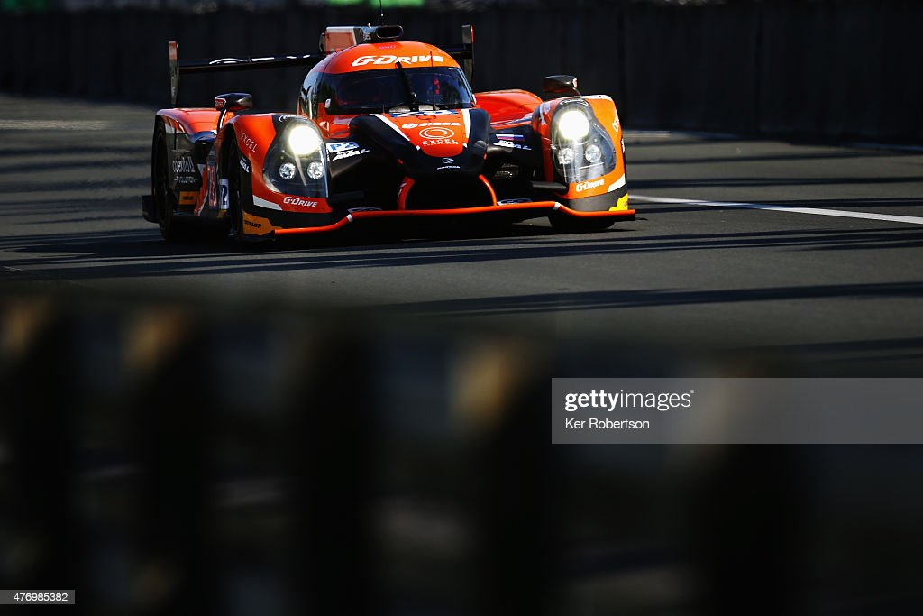 The G-Drive Ligier of Gustavo Yacaman, Luis Felipe Derani and <a gi-track='captionPersonalityLinkClicked' href=/galleries/search?phrase=Ricardo+Gonzalez&family=editorial&specificpeople=240556 ng-click='$event.stopPropagation()'>Ricardo Gonzalez</a> drives during morning warm up for the Le Mans 24 Hour race at the Circuit de la Sarthe on June 13, 2015 in Le Mans, France.