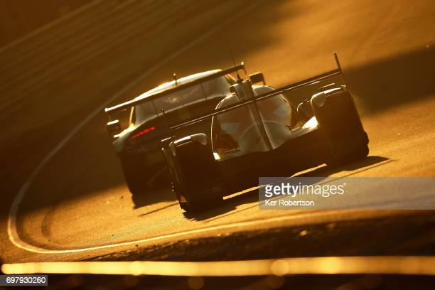 The GDrive Racing Oreca of Alex Lynn Roman Rusinov and Pierre Thiriet drives during the Le Mans 24 Hours race at the Circuit de la Sarthe on June 18...
