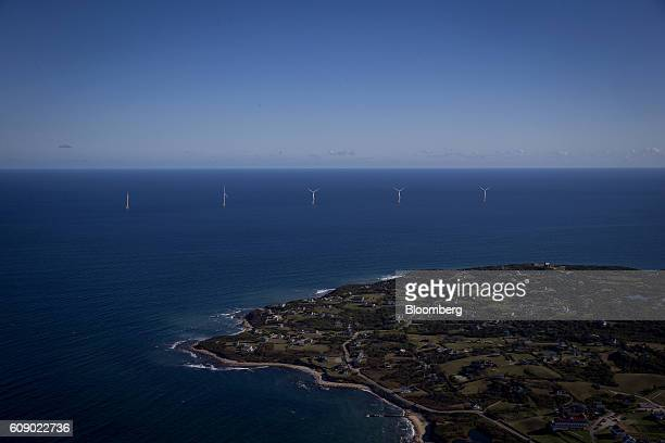 The GEAlstom Block Island Wind Farm stand in this aerial photograph taken above Block Island Rhode Island US on Wednesday Sept 2016 The installation...
