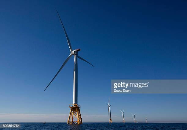 The GEAlstom Block Island Wind Farm stands 3 miles off of Block Island on September 22 2016 New Shoreham Rhode Island The five 6megawatt wind...