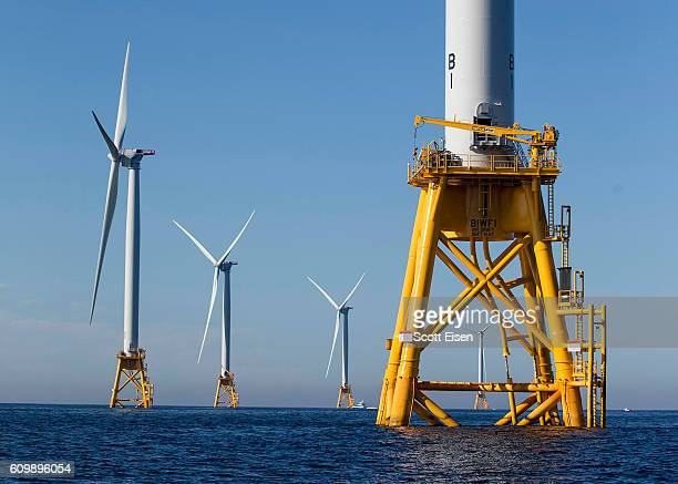 The GEAlstom Block Island Wind Farm stands 3 miles off of Block Island Rhode Island on September 22 2016 The five 6megawatt wind turbines are the...