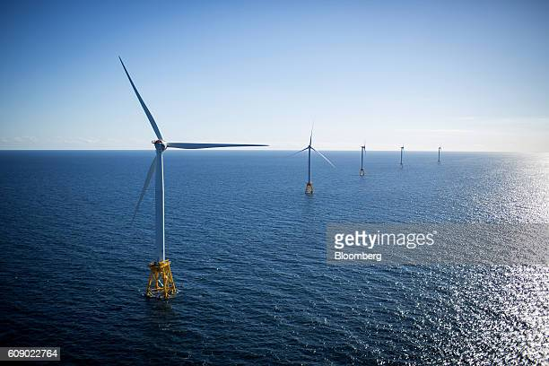 The GEAlstom Block Island Wind Farm stands in the water off Block Island Rhode Island US on Wednesday Sept 2016 The installation of five 6megawatt...