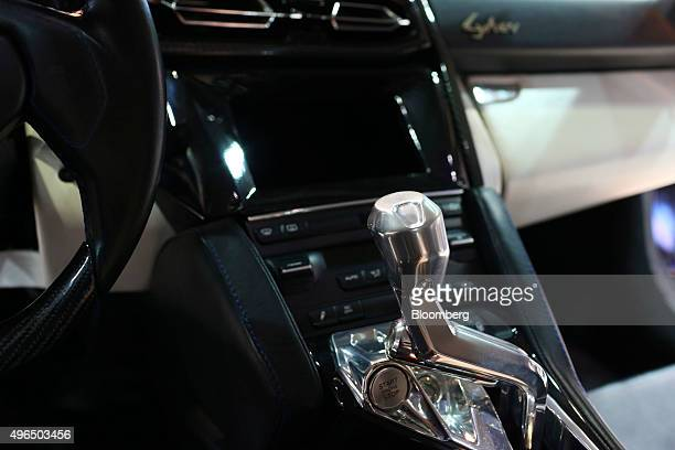 The gear stick of a display model Fenyr SuperSport super car manufactured by W Motors sits on display during the Dubai Motor Show at the World Trade...