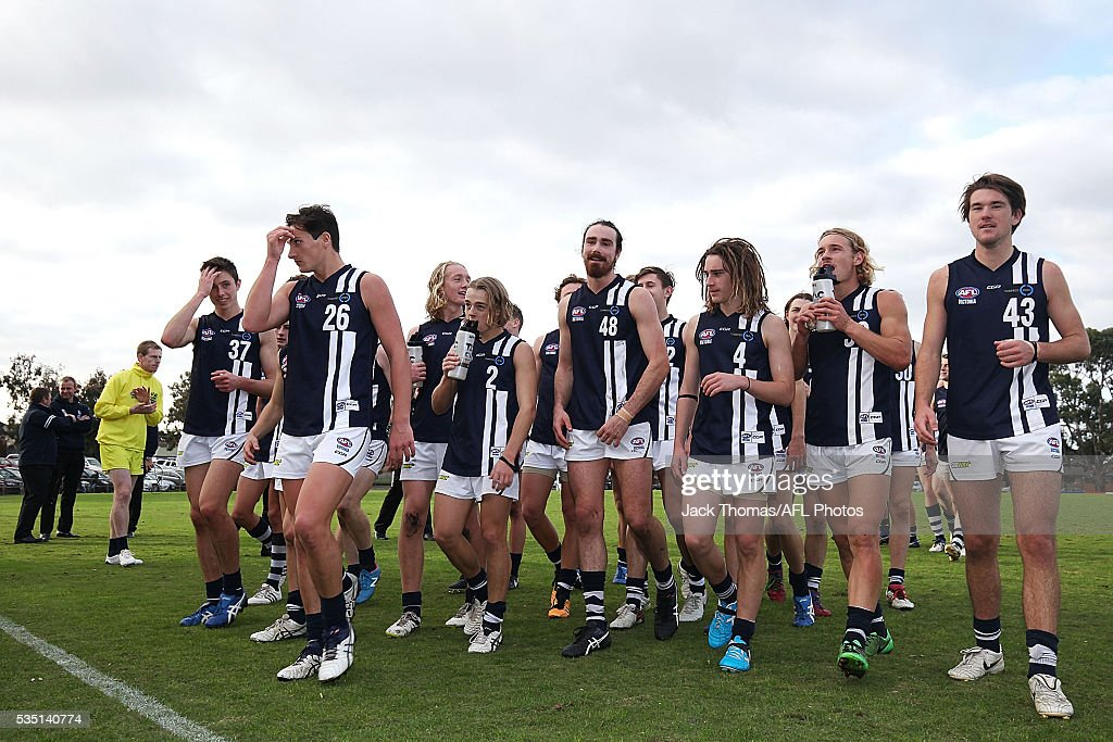 The Geelong Falcons walk off the field after their win against the Dandenong Stingrays at Shepley Oval on May 29, 2016 in Melbourne, Australia.