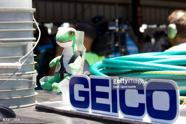 The Geico gecko sits on a pit cart during the Toyota/Save Mart 350 practice on June 23 2017 at Sonoma Raceway in Sonoma CA