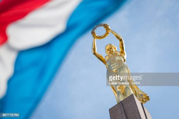 The 'Gelle Fra' of the Place de la Constitution in Luxembourg is seen prior to the FIFA 2018 World Cup Qualifier between Luxembourg and France at...