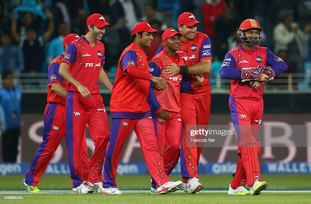 The Gemini Arabians players celebrate the wicket of Scott Styris of Leo Lions during the Final match of the Oxigen Masters Champions League between Gemini Arabians and Leo Lions at the Dubai International Cricket Stadium on February 13, 2016 in Dubai, United Arab Emirates.