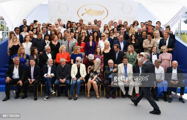 The General Delegate of the Cannes Film Festival Thierry Fremaux arrives to take place with French director Laurent Cantet Romanian director Cristian...