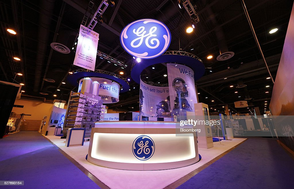 The General Electric Co. (GE) booth stands during the 2016 Offshore Technology Conference (OTC) in Houston, Texas, U.S., on Tuesday, May 3, 2016. The OTCgathers energy professionals to exchange ideas and opinions to advance scientific and technical knowledge for offshore resources. Photographer: Aaron M. Sprecher/Bloomberg via Getty Images