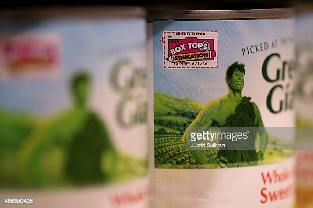 The General Mills Green Giant logo is displayed on a can of corn at a supermarket on September 3 2015 in San Rafael California General Mills...
