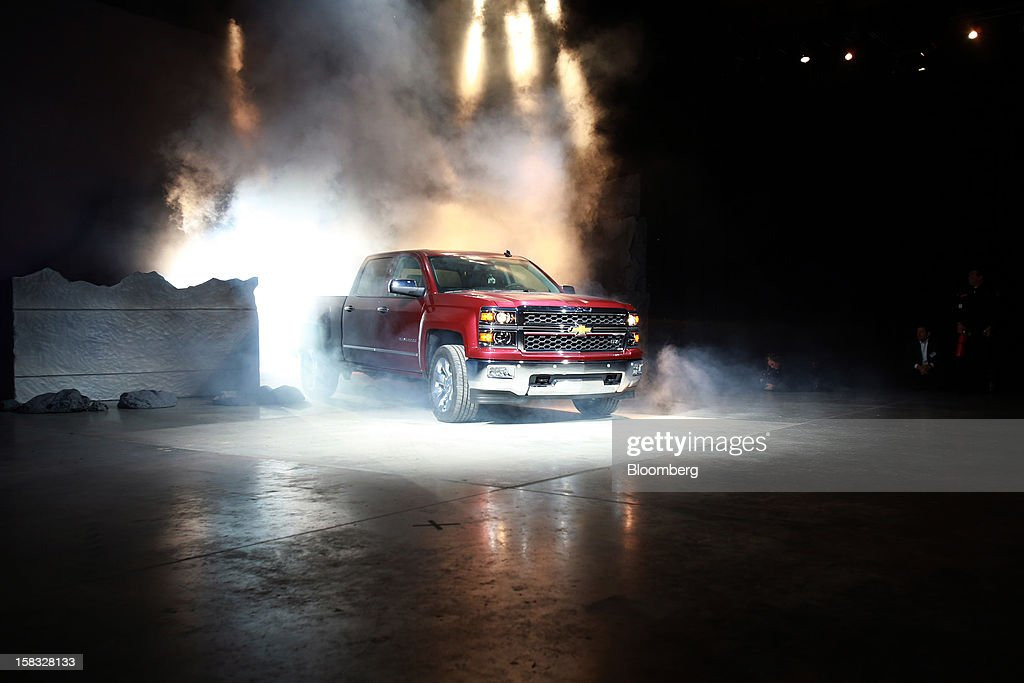 The General Motors Co. (GM) 2014 Chevrolet Silverado pickup is unveiled during an event in Pontiac, Michigan, U.S., on Thursday, Dec. 13, 2012. Even with the recent cloud of high existing truck inventories, the new Chevrolet Silverado and GMC Sierra pickups hold the promise of giving GM's investors, the U.S. government included, a long awaited boost. Photographer: Fabrizio Costantini/Bloomberg via Getty Images