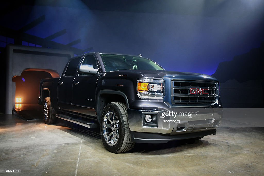 The General Motors Co. (GM) 2014 GMC Sierra pickup is unveiled during an event in Pontiac, Michigan, U.S., on Thursday, Dec. 13, 2012. Even with the recent cloud of high existing truck inventories, the new Chevrolet Silverado and GMC Sierra pickups hold the promise of giving GM's investors, the U.S. government included, a long awaited boost. Photographer: Fabrizio Costantini/Bloomberg via Getty Images