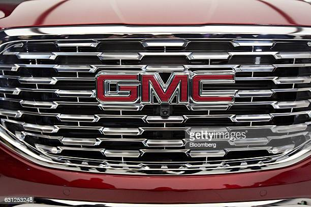 The General Motors Co 2018 Terrain Denali compact sport utility vehicle sits on display during an unveiling event ahead of the 2017 North American...