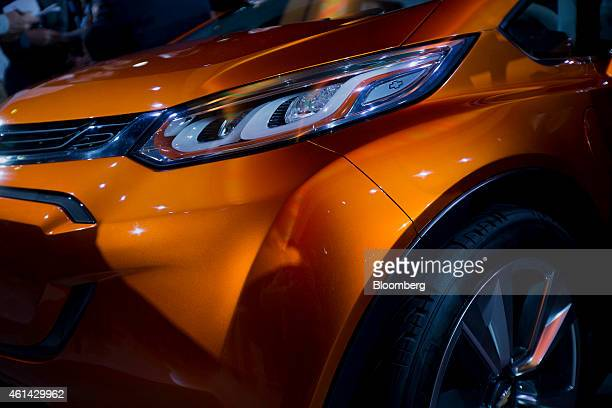 The General Motors Co Chevrolet Bolt concept vehicle is displayed after being unveiled during the 2015 North American International Auto Show in...