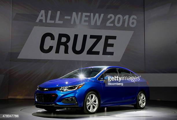 The General Motors Co Chevrolet Cruze vehicle is unveiled during an event at the Fillmore Theater in Detroit Michigan US on Wednesday June 24 2015...