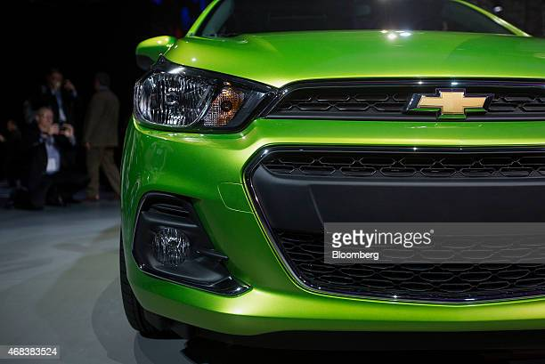 The General Motors Co Chevy Spark vehicle is displayed during the 2015 New York International Auto Show in New York US on Thursday April 2 2015 The...