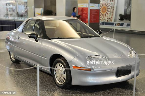 The General Motors EV1 Electric Car is on display during the grand opening of National Museum Of American History's Innovation Wing at the National...