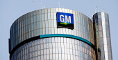 The General Motors logo on the world headquarters building is shown September 17 2015 in Detroit Michigan Mary Barra Chief Executive Officer of...