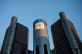 The General Motors logo sits atop the company's headquarters on September 3 2013 in Detroit Michigan Detroit once known as powerhouse for creativity...