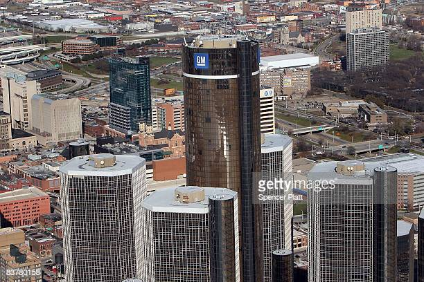 The General Motors world headquarters building stands tallest amidst the Renaissance Center in the skyline of city's downtown on November 21 2008 in...