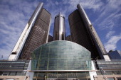 The General Motors world headquarters is seen April 24 2014 in Detroit Michigan GM reported its first quarter profits dropped nearly 86% from the...
