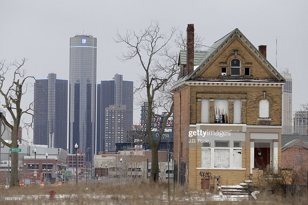 The General Motors (GM) world headquarters is seen February 24, 2013 in Detroit, Michigan. The city of Detroit has faced serious economic challenges in the past decade, with a shrinking population and tax base while trying to maintain essential services. A financial review team issued a finding on February 19 identifying the city as being under a 'financial emergency.' Michigan Gov. Rick Snyder has 30 days from the report's issuance to officially declare a financial emergency, which could result in the governor appointing an emergency financial manager to oversee Detroit's municipal government.